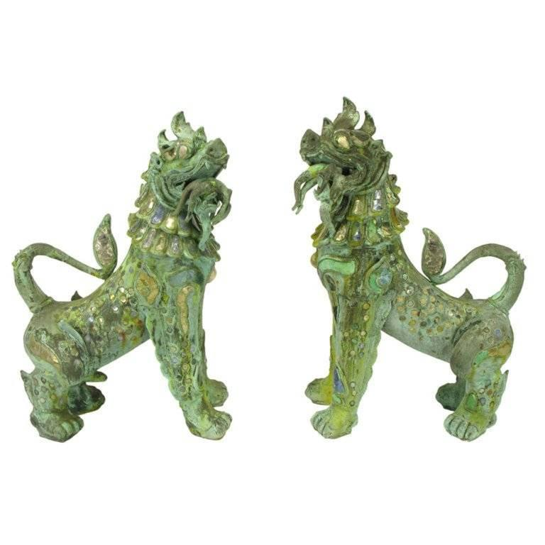Pair of Massive Phyllis Morris Bronze over Stone Dragons Holding Female Nudes