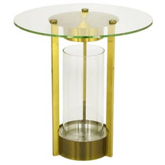 Illuminated Brass and Glass Cylindrical End Table, Dorothy Thorpe Attributed