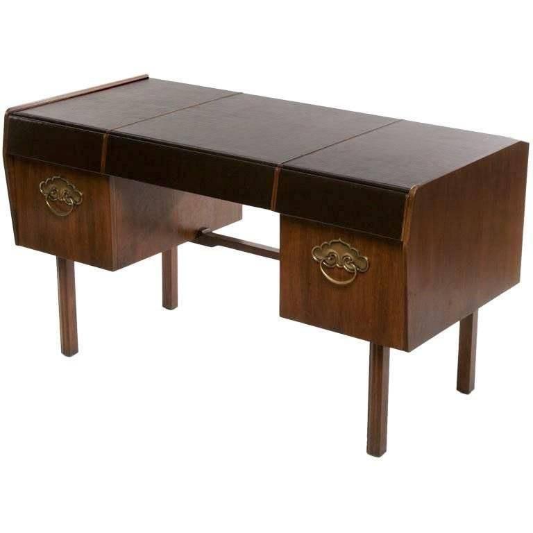 Bert England Persian Walnut and Leather Desk for John Widdicomb For Sale