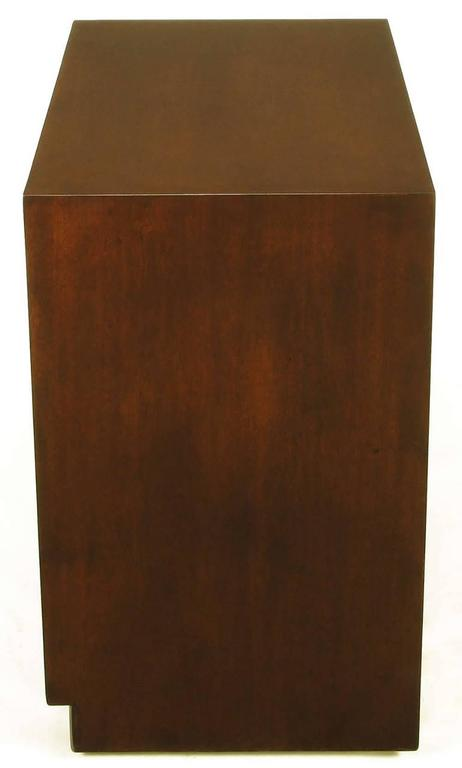 American Widdicomb Modern Original Figured Mahogany Three-Drawer Commode For Sale