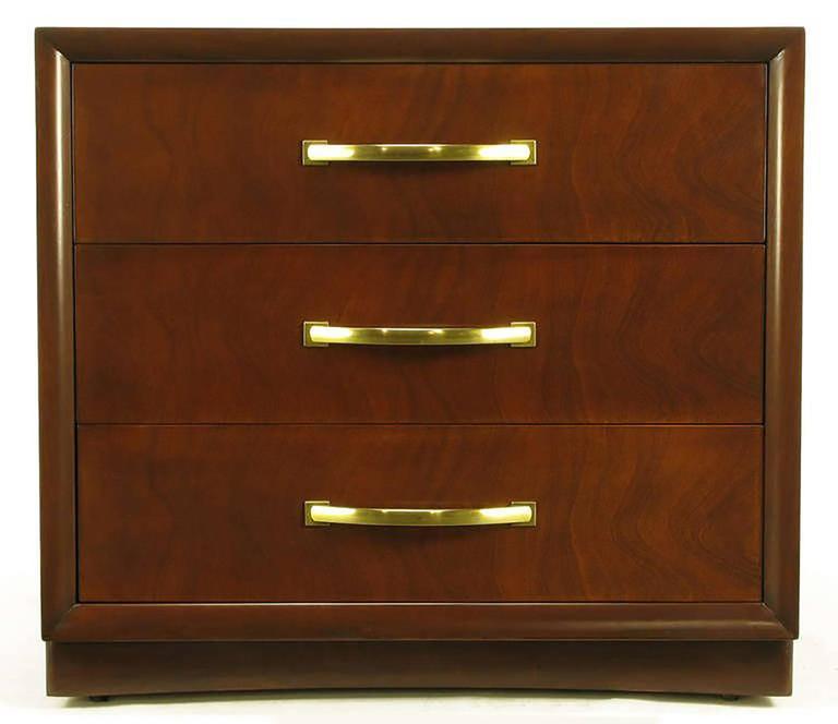 Art Deco Widdicomb Modern Original Figured Mahogany Three-Drawer Commode For Sale