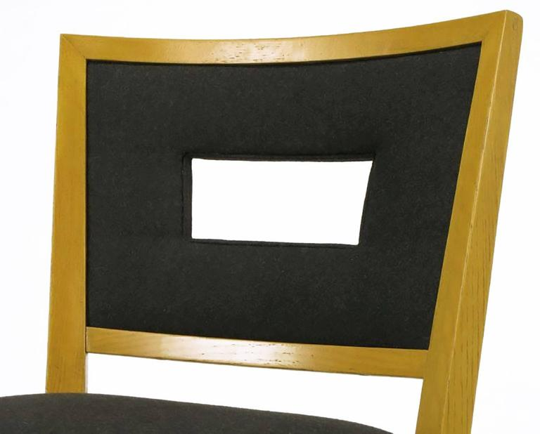 Set of Eight White Oak and Black Flannel Keyhole Back Dining Chairs For Sale 6