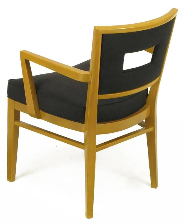Set of Eight White Oak and Black Flannel Keyhole Back Dining Chairs For Sale 3