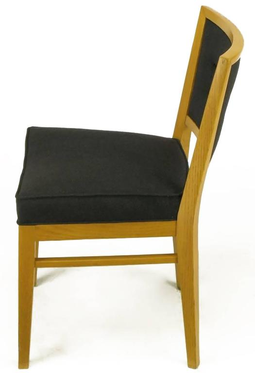 Mid-20th Century Set of Eight White Oak and Black Flannel Keyhole Back Dining Chairs For Sale