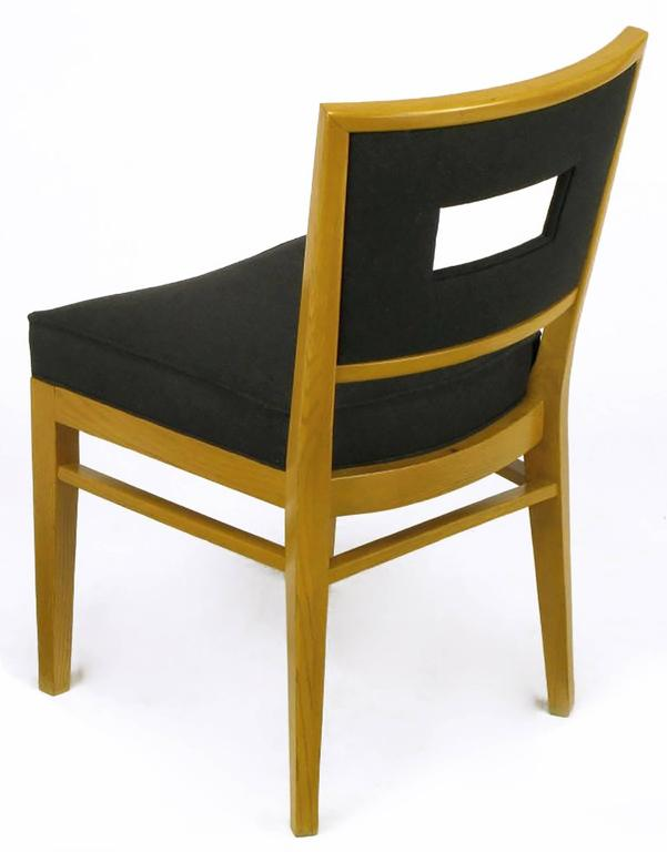 Set of Eight White Oak and Black Flannel Keyhole Back Dining Chairs For Sale 1