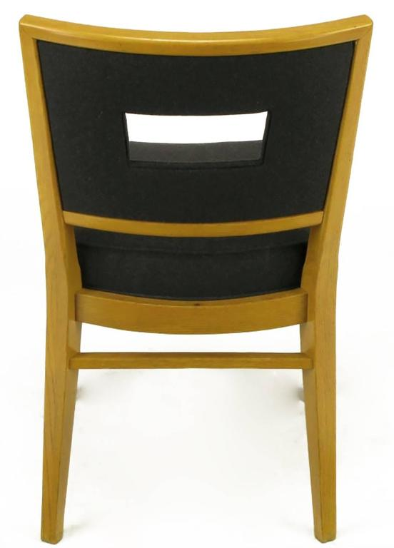 Set of Eight White Oak and Black Flannel Keyhole Back Dining Chairs For Sale 2