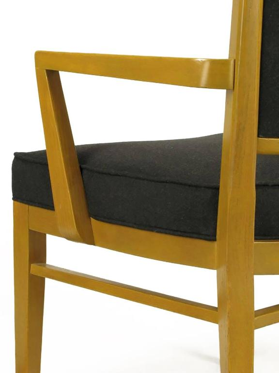 Set of Eight White Oak and Black Flannel Keyhole Back Dining Chairs For Sale 4