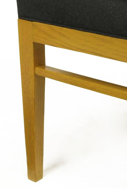 Set of Eight White Oak and Black Flannel Keyhole Back Dining Chairs For Sale 5