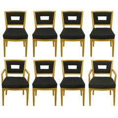 Set of Eight White Oak and Black Flannel Keyhole Back Dining Chairs