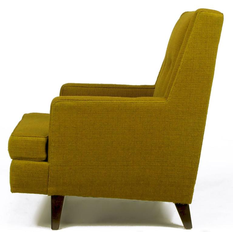 Mid-20th Century Edward Wormley Lounge Chair in Moss Green Wool Upholstery For Sale