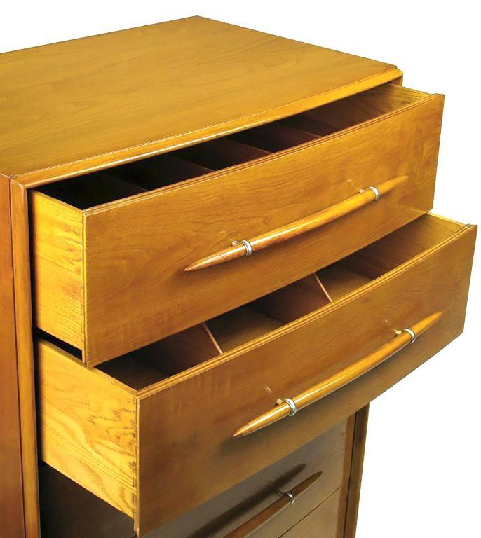 Silver Plate T. H. Robsjohn-Gibbings Tall Walnut Dresser for Widdicomb For Sale