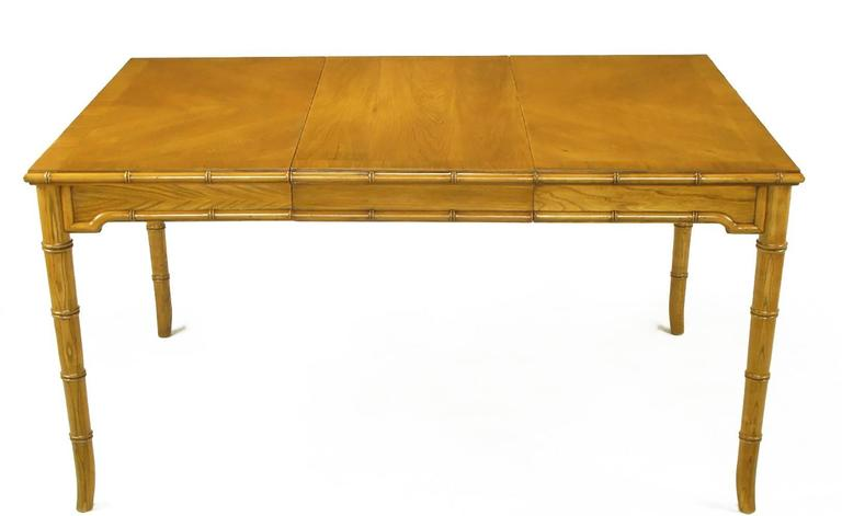 Mid-20th Century Petite Edge-Banded Parquetry Top Dining Table with Bamboo-Form Saber Legs For Sale