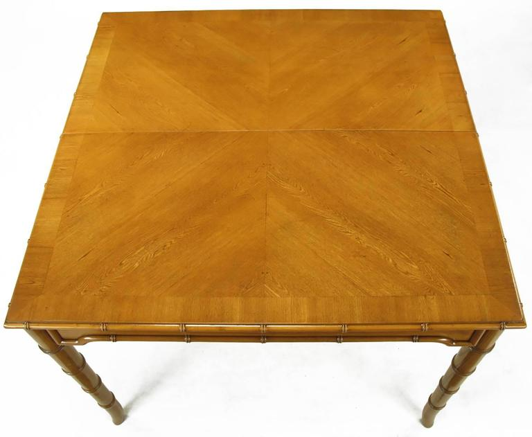 Ash Petite Edge-Banded Parquetry Top Dining Table with Bamboo-Form Saber Legs For Sale
