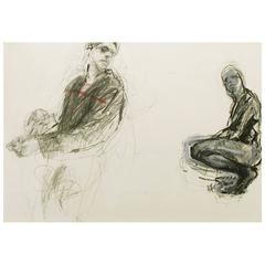 """Jonathan Franklin """"Whirlwind"""" Male Figures in Graphite and Acrylic on Paper"""
