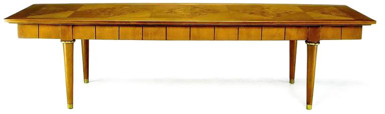 American Oxford-Kent Long Walnut Coffee Table with Burled Parquetry Top For Sale