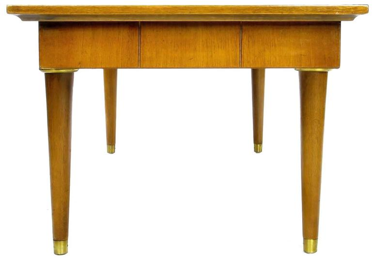 Mid-20th Century Oxford-Kent Long Walnut Coffee Table with Burled Parquetry Top For Sale