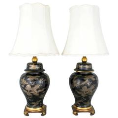 Pair of Black and Gilt Ginger Jar Table Lamps with Dragon Design