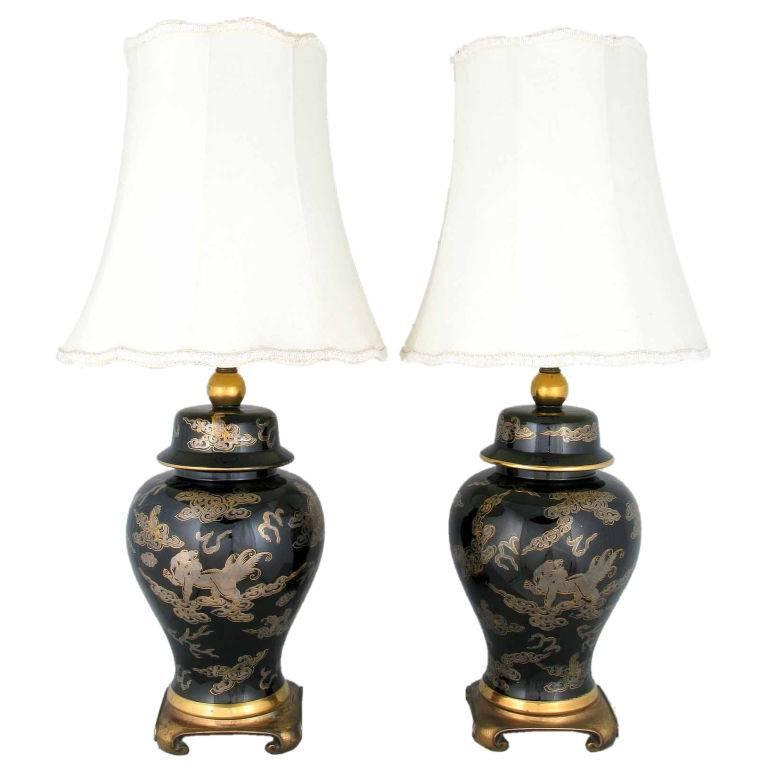 pair of black and gilt ginger jar table lamps with dragon design for. Black Bedroom Furniture Sets. Home Design Ideas