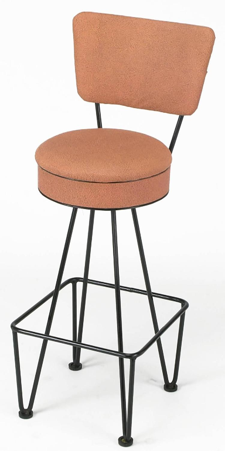 Six Wrought Iron Bar Stools After Frederick Weinberg For