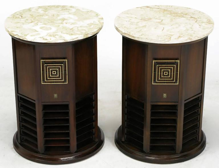 Pair Of 1960s Walnut And Marble Columnar End Table Speakers At 1stdibs