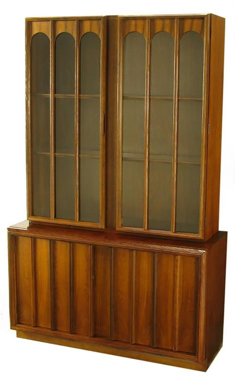 Keller Colonnade Top Walnut And Glass Tall Cabinet For