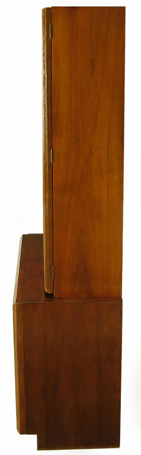 Keller Colonnade Top Walnut And Glass Tall Cabinet For Sale At 1stdibs