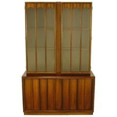 Keller Colonnade-Top Walnut and Glass Tall Cabinet