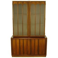 Keller Colonnade-Top Walnut and Glass Tall Cabinet