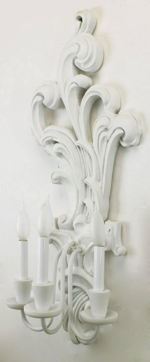 Wooden Electric Wall Sconces : Pair of Tall White Lacquered Carved Wood Electric Sconces For Sale at 1stdibs
