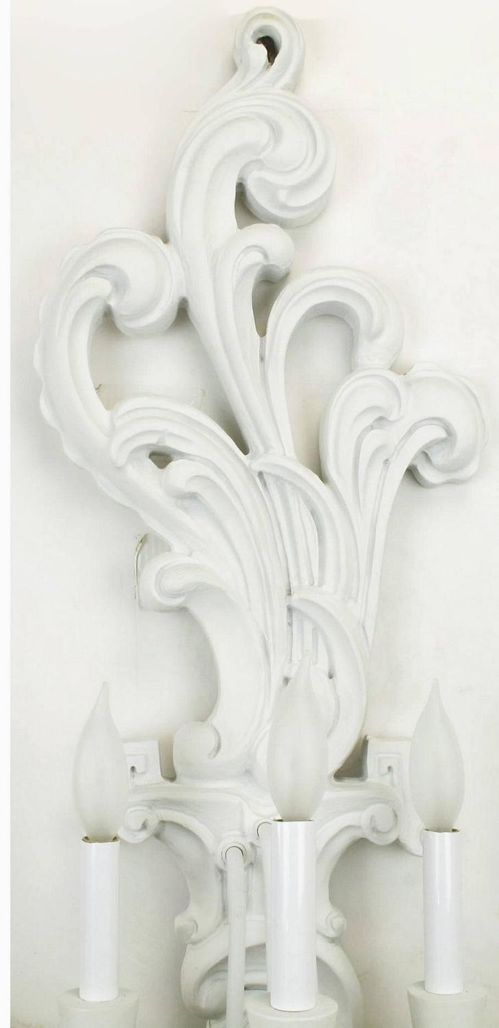 Pair of Tall White Lacquered Carved Wood Electric Sconces For Sale at 1stdibs