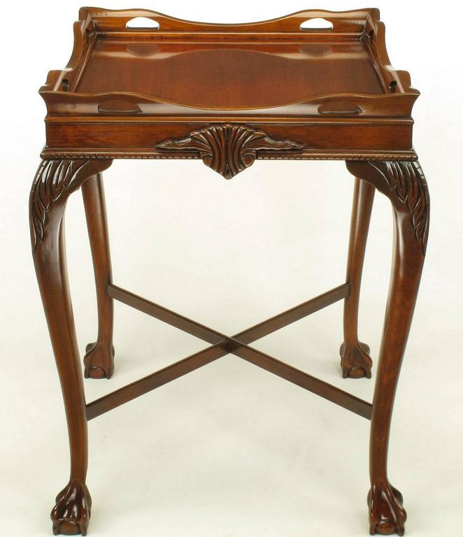 American Pair of Mahogany Ball and Claw Footed George II Style End Tables For Sale