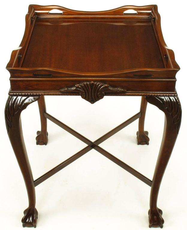 Mid-20th Century Pair of Mahogany Ball and Claw Footed George II Style End Tables For Sale