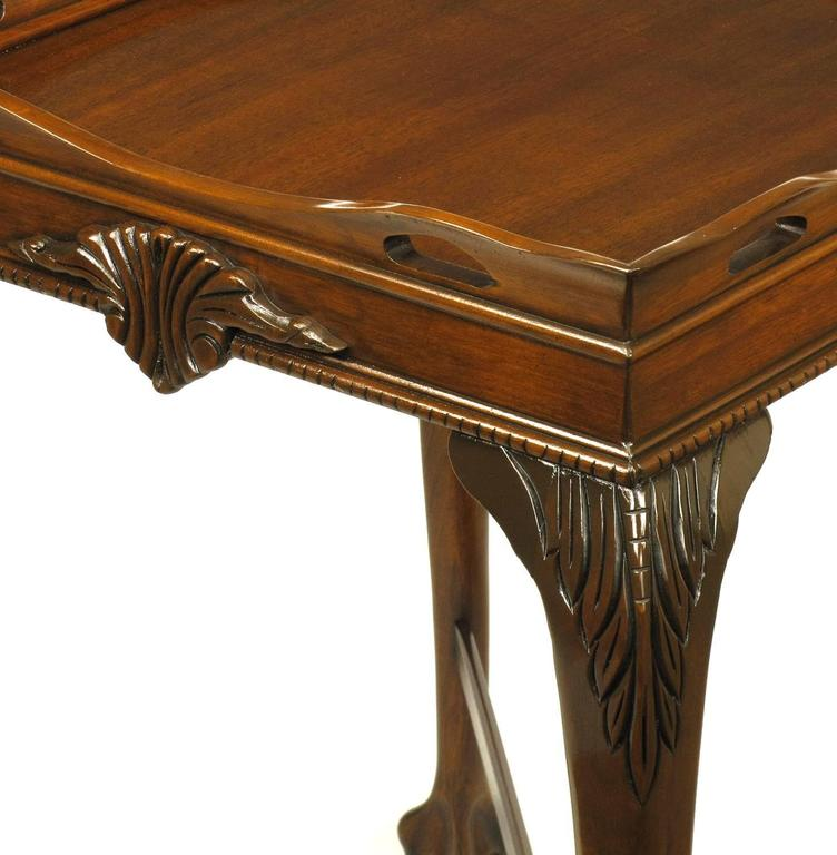Pair of Mahogany Ball and Claw Footed George II Style End Tables For Sale 1