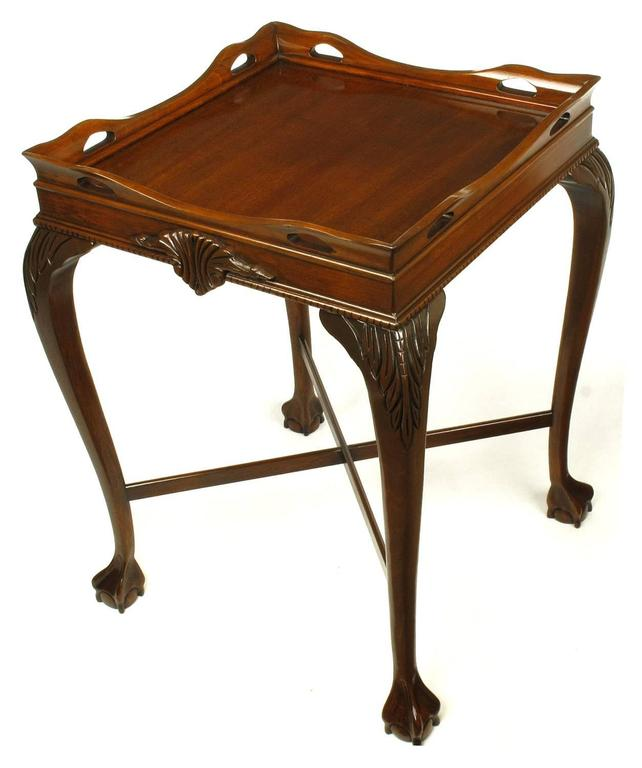 Pair of Mahogany Ball and Claw Footed George II Style End Tables In Excellent Condition For Sale In Chicago, IL