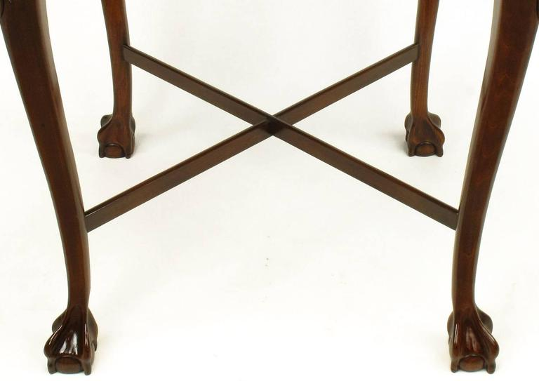 Pair of Mahogany Ball and Claw Footed George II Style End Tables For Sale 2