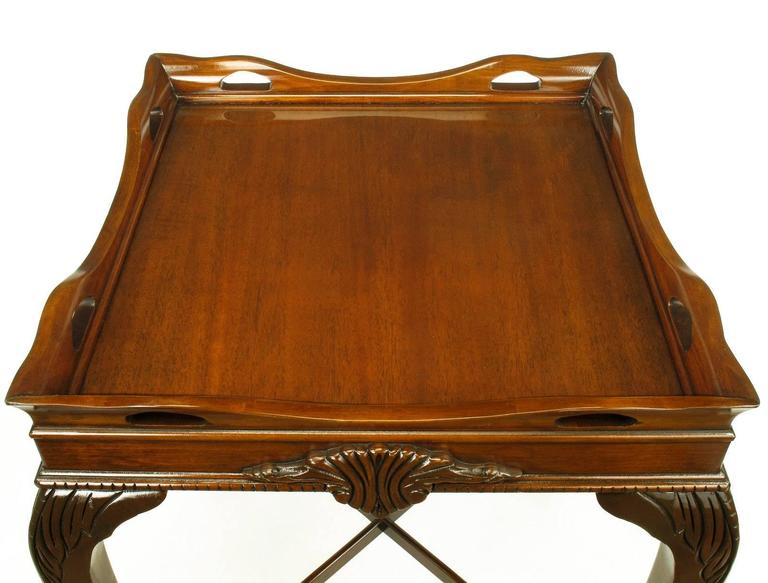 Pair of Mahogany Ball and Claw Footed George II Style End Tables For Sale 3
