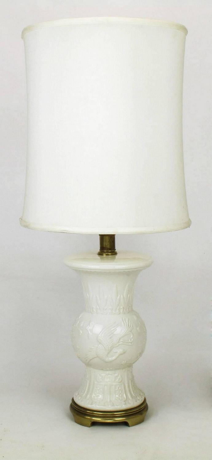 Pair Of Frederick Cooper White Porcelain Table Lamps For