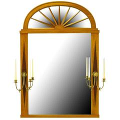Grosfeld House Sunburst Top Mirror with Integral Brass Sconces