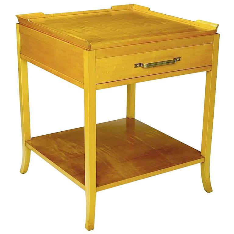 American Curly Maple Nightstand in the Style of Tommi Parzinger For Sale