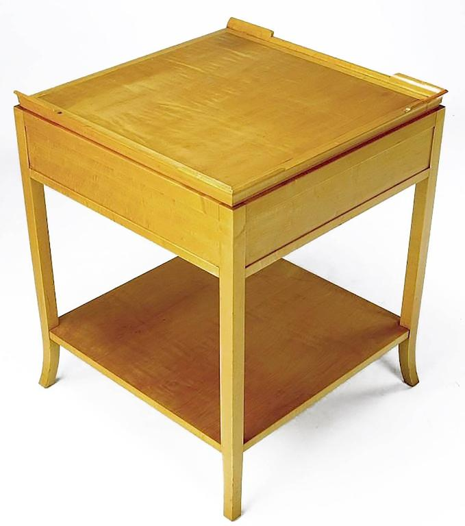 Curly Maple Nightstand in the Style of Tommi Parzinger In Excellent Condition For Sale In Chicago, IL