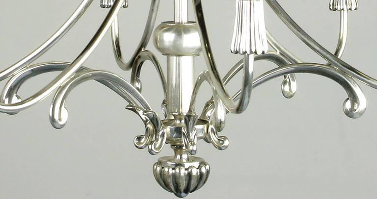 Mid-20th Century Lightolier Silver Italian Six-Arm Chandelier For Sale