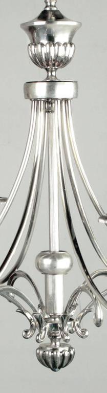 Brass Lightolier Silver Italian Six-Arm Chandelier For Sale
