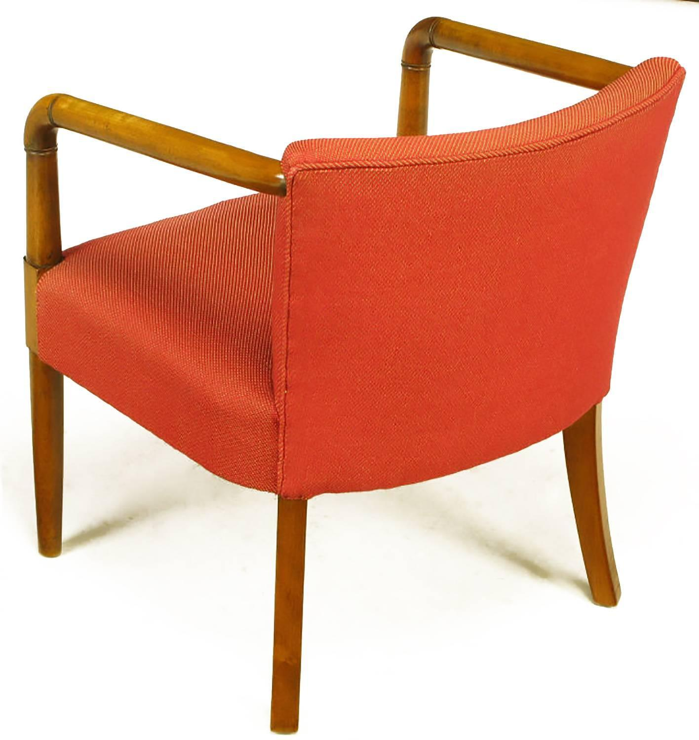 Mahogany And Crimson Upholstered Slope Arm Desk Chair For