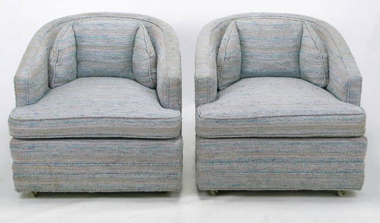 Pair Of Knapp And Tubbs Barrel Chairs In Original Blue