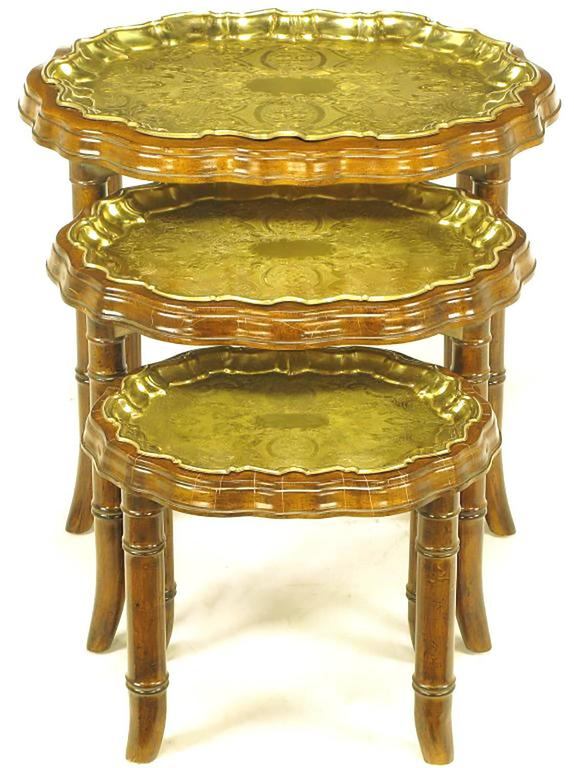 Nesting Snack Tables ~ Three carved walnut and etched brass tray nesting tables