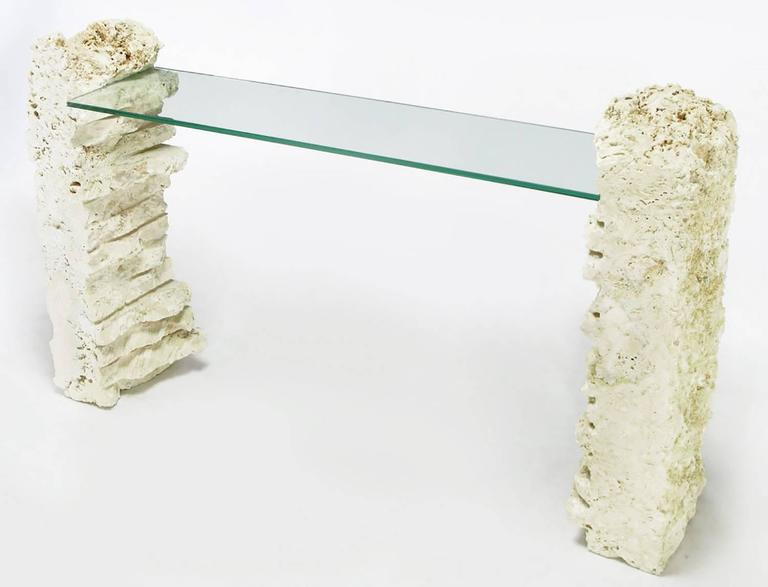 Rough Hewn Fossilized Coral Stone Console Table At 1stdibs