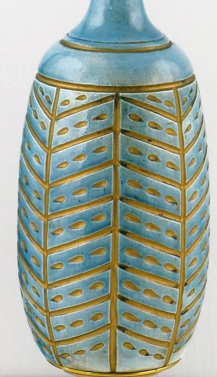 Mid-20th Century Pair of Rembrandt Cerulean Blue Pottery and Brass Table Lamps For Sale