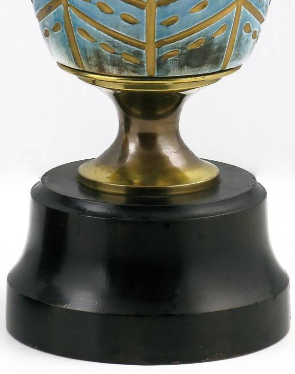 Pair of Rembrandt Cerulean Blue Pottery and Brass Table Lamps For Sale 2