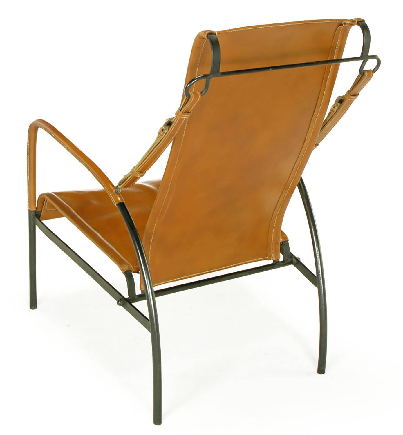 Pair of Custom Leather and Wrought Iron Lounge Chairs after Jacques Adnet For