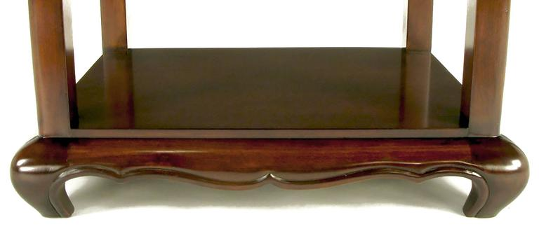 Pair of Walnut End Tables with Scalloped Edge Tops For Sale 4